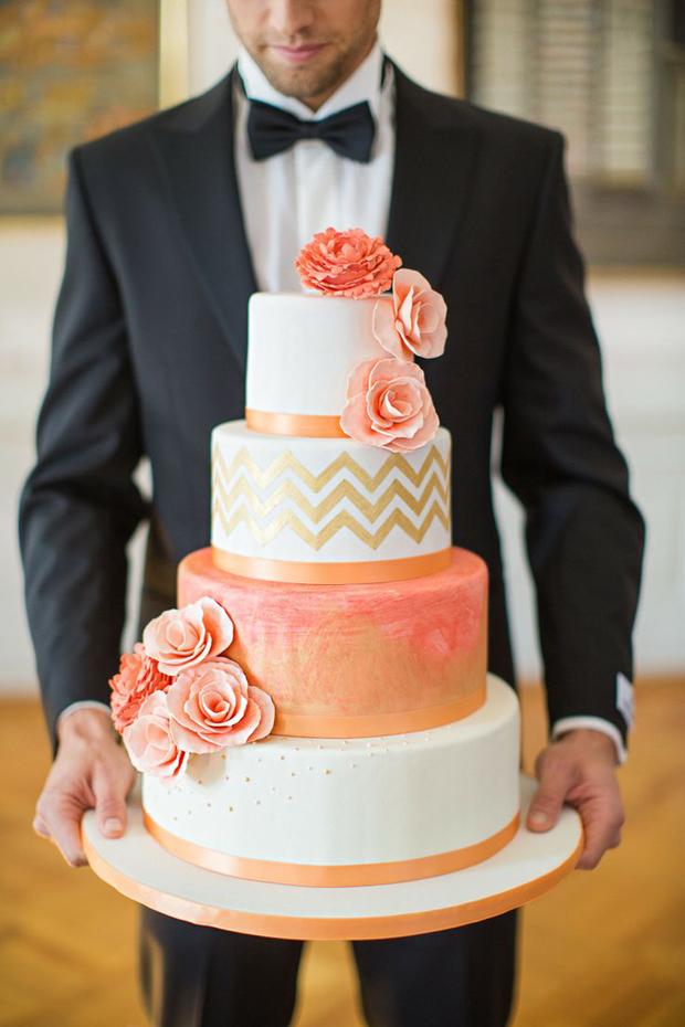2chevron-peach-wedding-cake