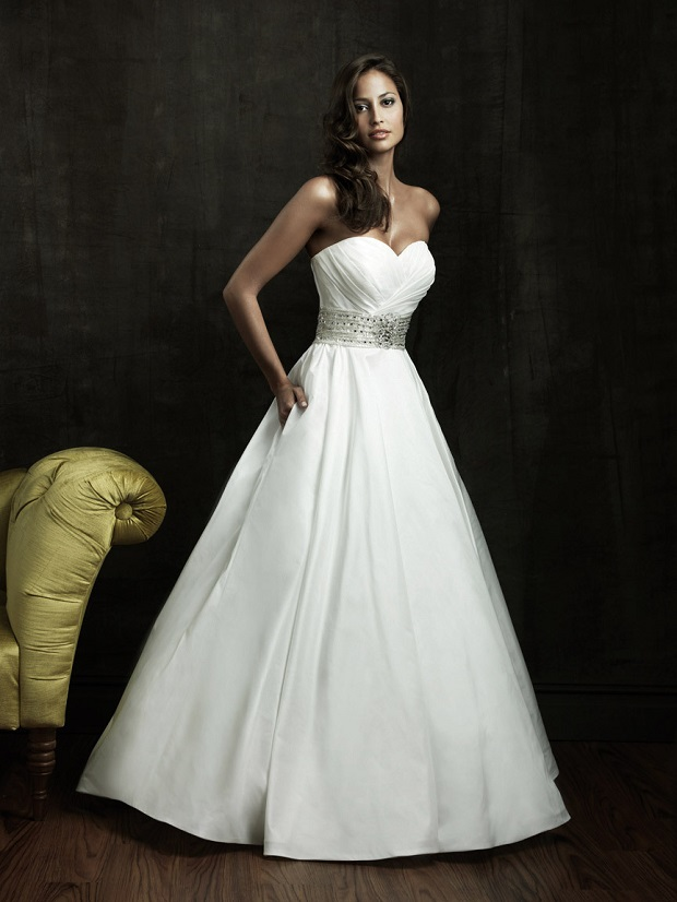Allure-s-satin-wedding-gown-Strapless-pocket-sweetheart-neckline-sparkling-beaded-belt-ruched-bodice-ball-gown