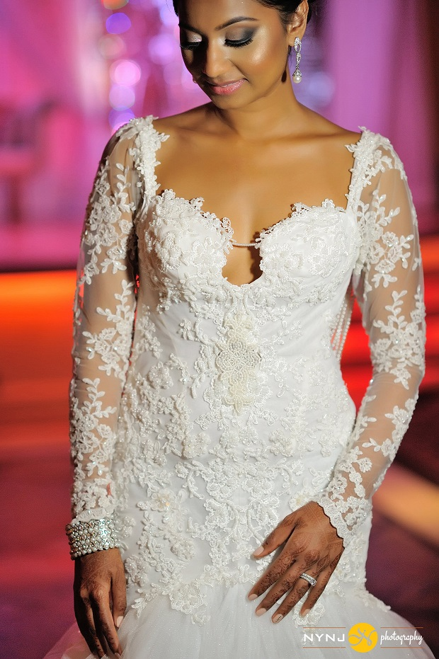 Indian bride's gorgeous Christian wedding gown with scalloped sweetheart neckline