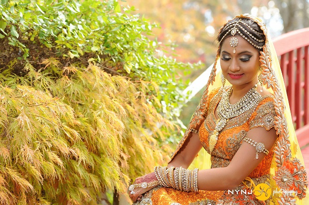 bride in a beautiful golden mango colored lehenga-NYNJ photography