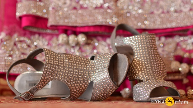 silver wedding shoes for Indian real bride in NY