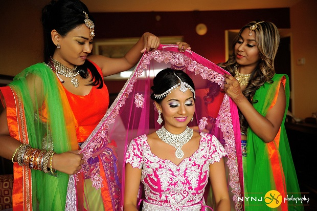 pink silver lehenga Indian bride