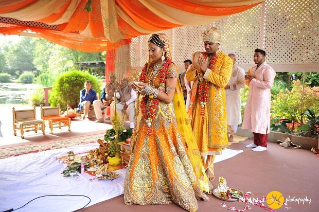mango gold lehenga Indian bride in Queens NY