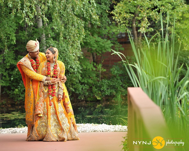 royal golden orange wedding dress Indian cool real wedding in NYC Queens