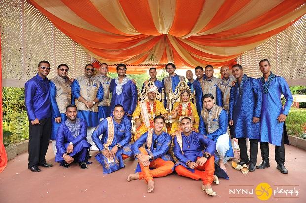 bue dress groomsmen Indian real wedding in NYC