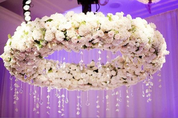 wedding flower chandeliers