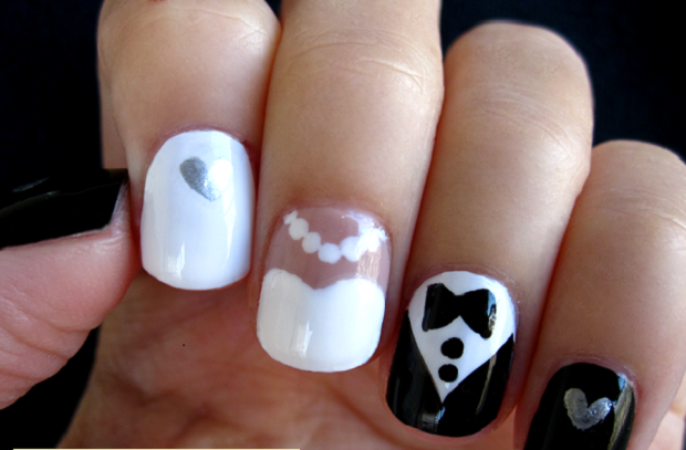 mismatched nails trend in bridal nails 2015