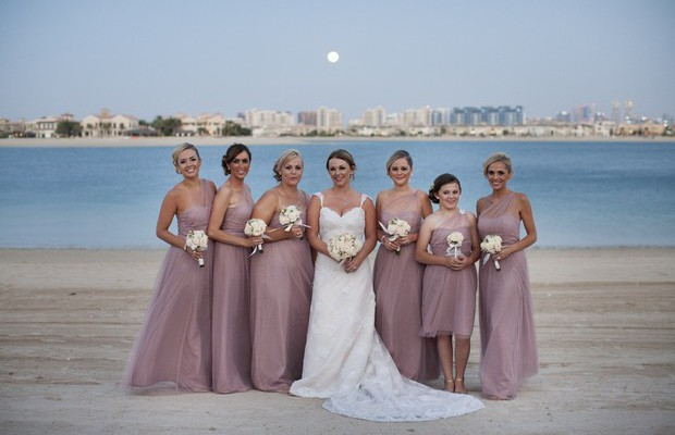 bridesmaids-in-pink-chiffon-dresses-uae-real-wedding
