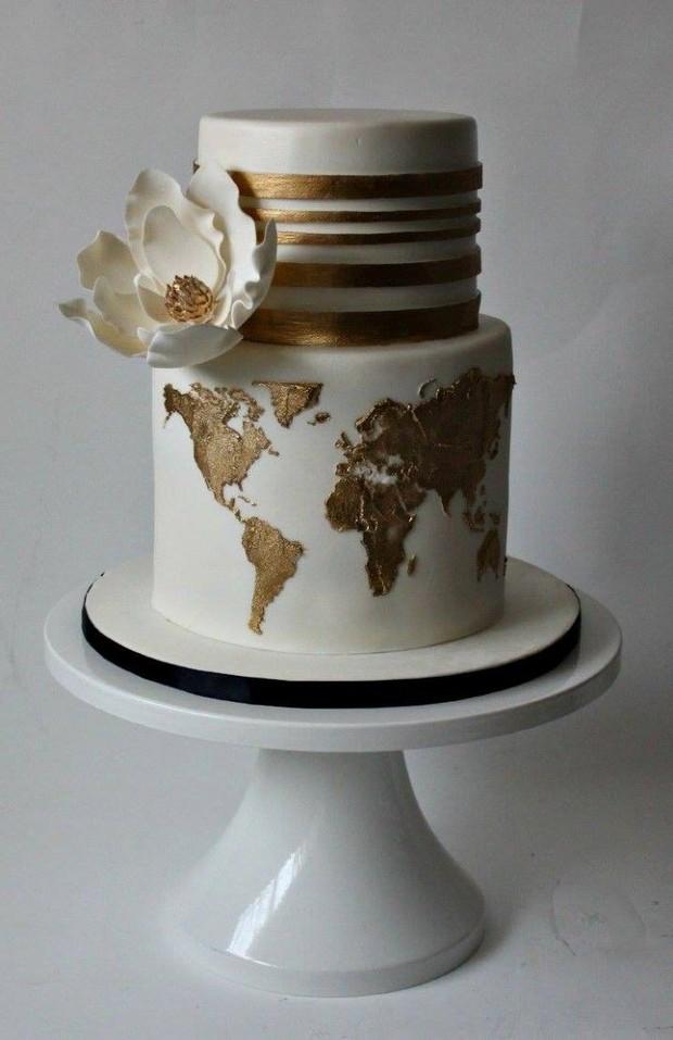 travel-theme-wedding-cake-map-gold-leaf