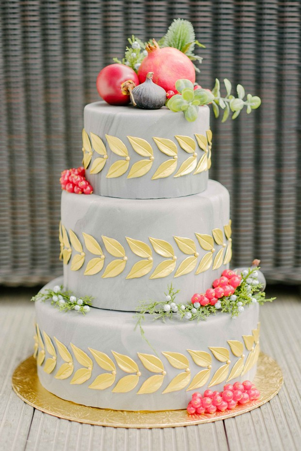 luxurious-wedding-photo-shoot-UAE-grey-three-tier-wedding-cake-with-leaf-detail