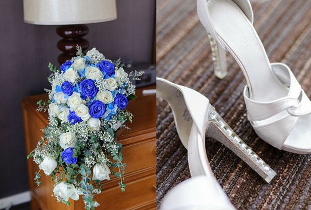 Ecelaine's wedding shoes and bouquet