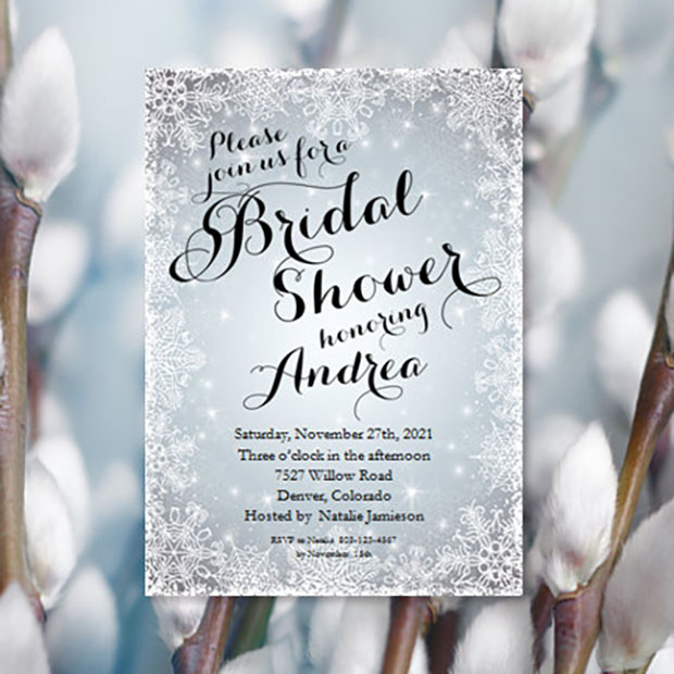 Bridal Shower Invitation Cards Christmas Festive Theme
