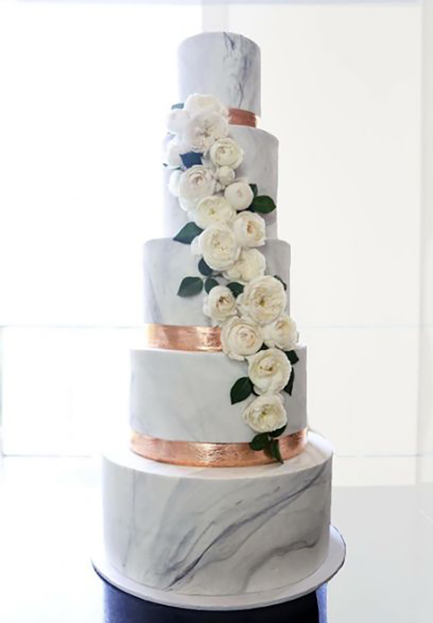 Marble White 2017 Wedding Cake Trends