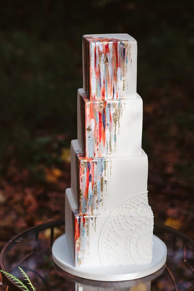 Hand Painted Modern Art 2017 Wedding Cake Trends