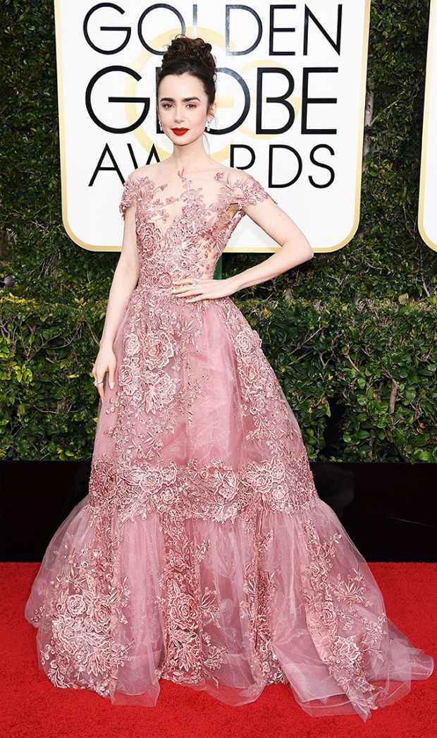 Lilly Collins Golden Globes