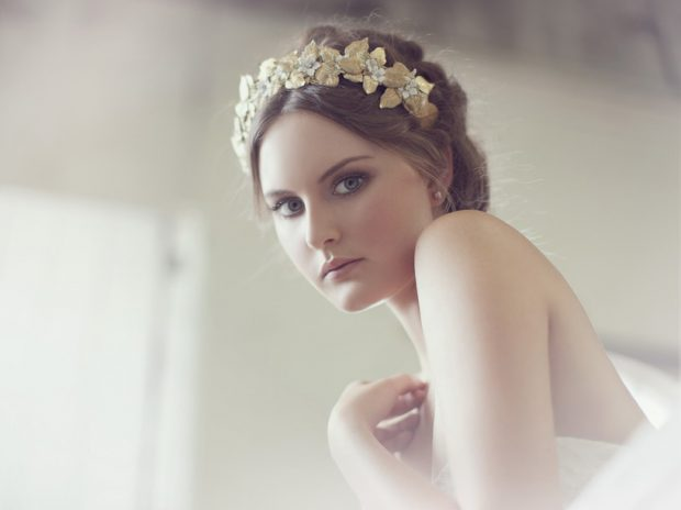 bridal gold hair crown 2017