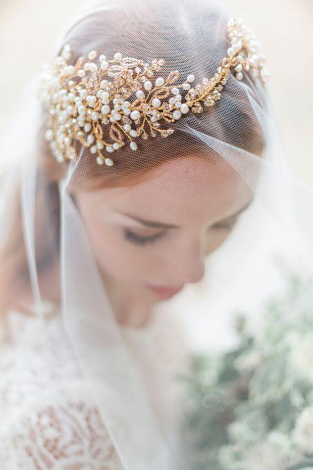 bridal gold hair accessories 2017