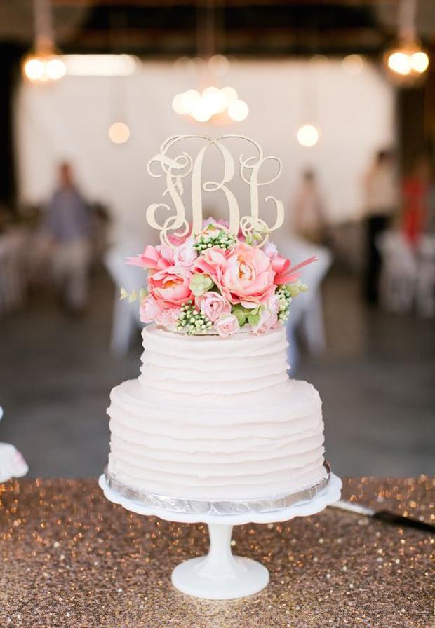 monogramed cake topper