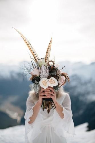 Feather Rose Protea Wedding Bouquet 22nd Dec 2015