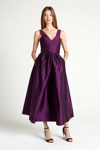 Monique Lhuillier Satin Tea Length Dress