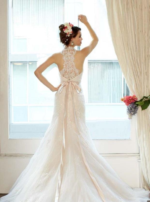 Halter Neckline Semi Backless Wedding Gown