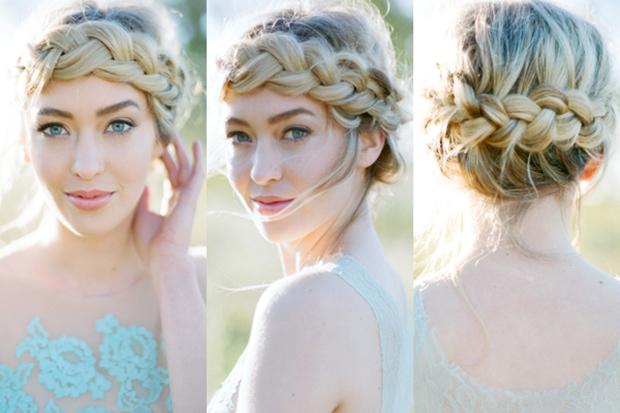 Braided Hair Crown Bridal Wedding Hairstyle Inspiration