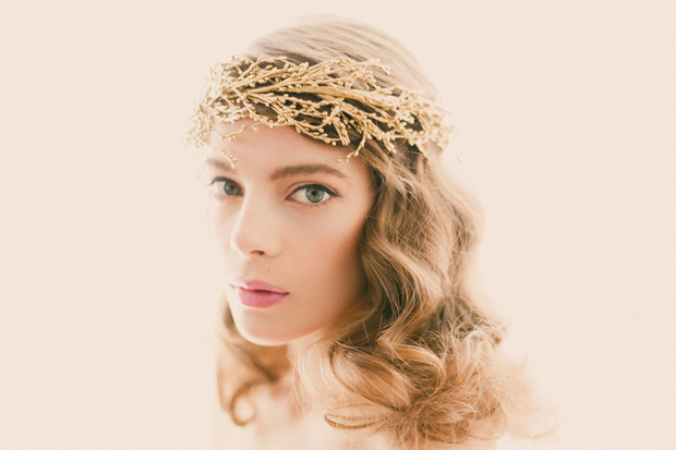 Bridal Golden Hair Piece