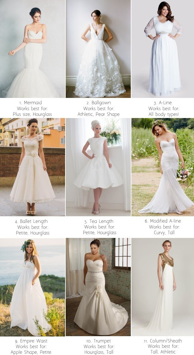 Guide To Wedding Dress Silhouettes Shapes