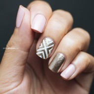 Bronze & Pink Graphic Nails