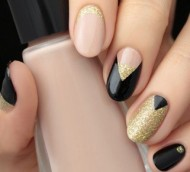 Gold & Black Nails