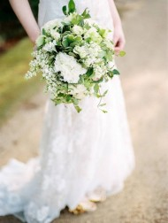 Green & White Carnation Bouquet