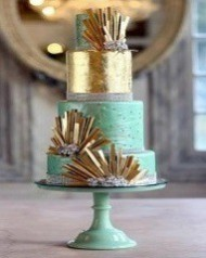 Lucite Green & Gold Cake