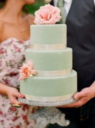 Mint Cake & Pink Flowers