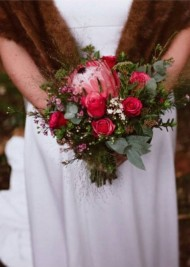 Red Rose & Protea Wedding Bouquet