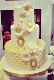 White & Gold Floral Cake